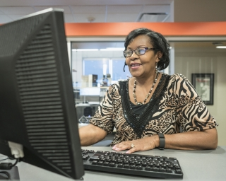 African American woman working on her computer